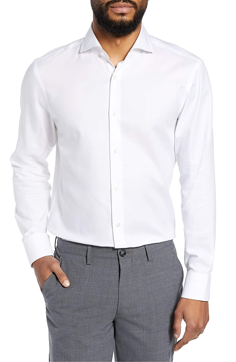 Size 16.0 Hugo Boss Mens Mark Sharp Fit Dress Shirt White White, 16 x 32//33