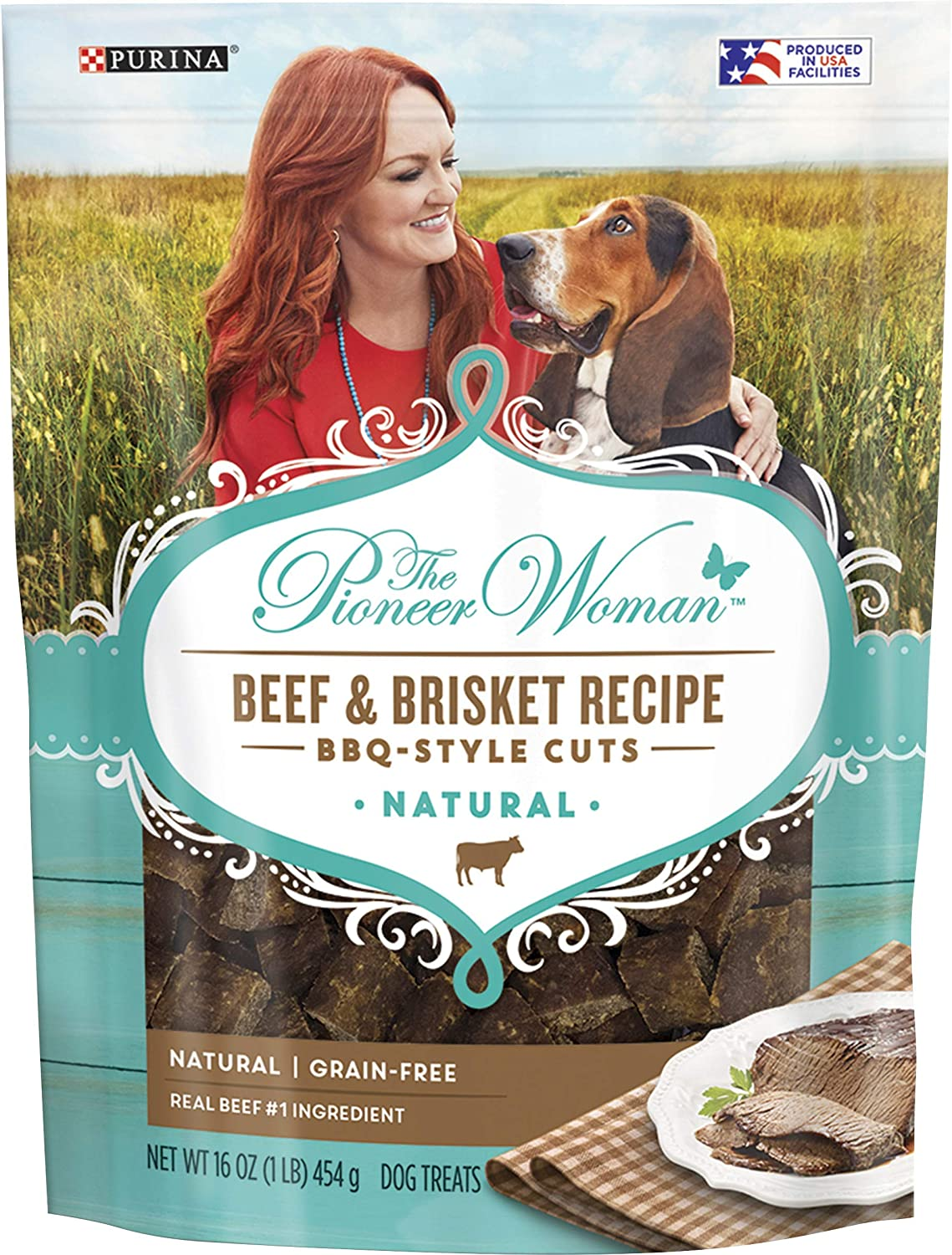 The Pioneer Woman Grain Free, Natural Dog Treats; Beef and Brisket Recipe BBQ Style Cuts - 16 oz. Pouch