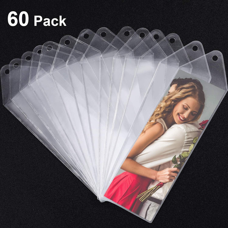 Funda de Marcapáginas de Vinilo Manga de Fotos 2-1/4 x 6-1/4 Pulgadas para Boda 2 x 6 Pulgadas Tiras de Foto para Regalo de Día de San Valentín (60)