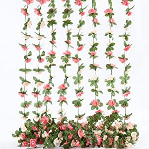 PONKING Artificial Rose Vine Flowers with Green Leaves, 8pcs 66FT Hanging Fake Flower Garland, Roses Vine for Home Hotel Office Wedding Party Garden Craft Wall Decor Pink