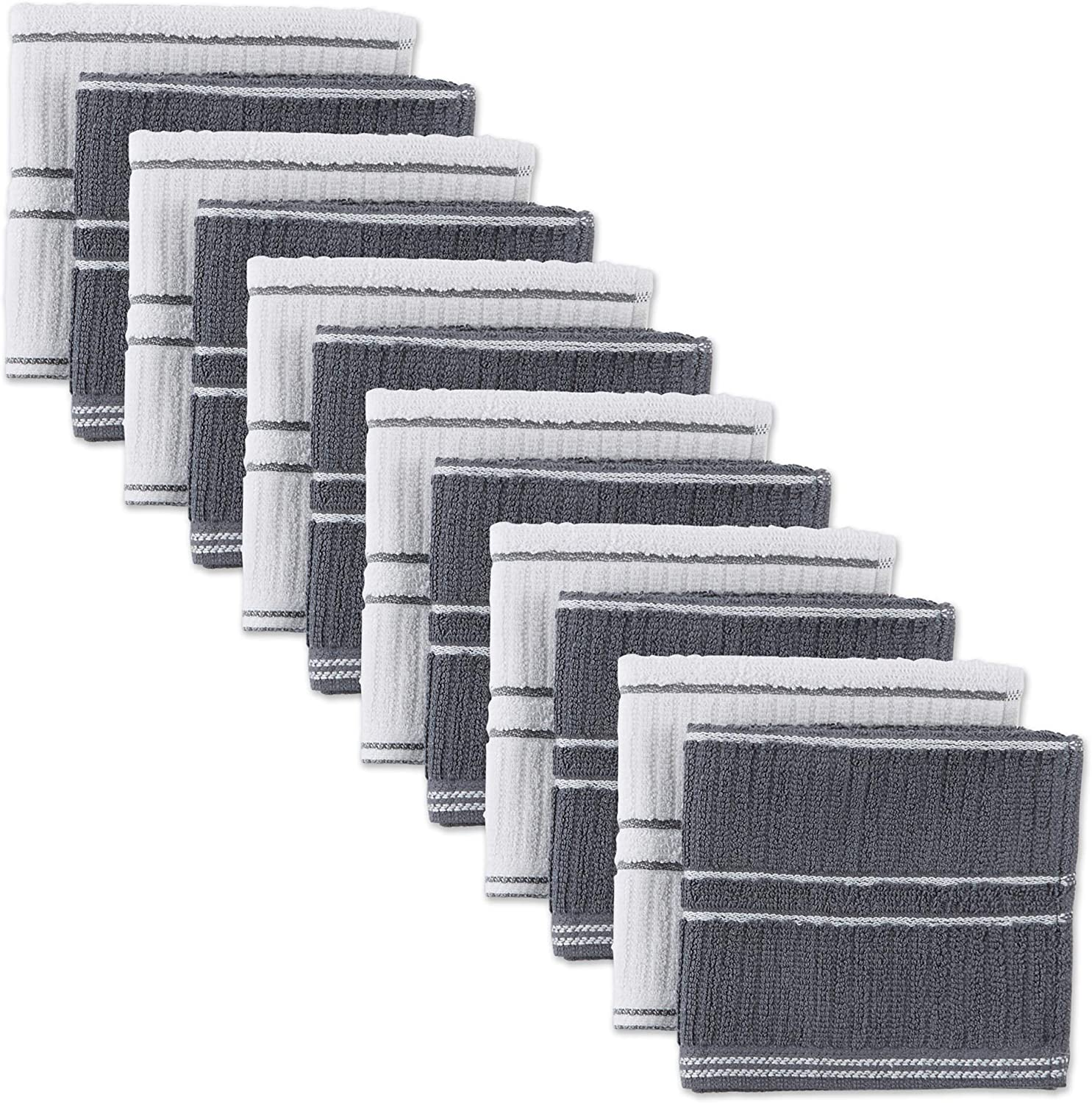 J&M Home Fashions 70316A Cotton Ribbed Terry Dish Absorbent Durable Drying Cleaning Kitchen Cloths, 13x13, Gray 12 Pack