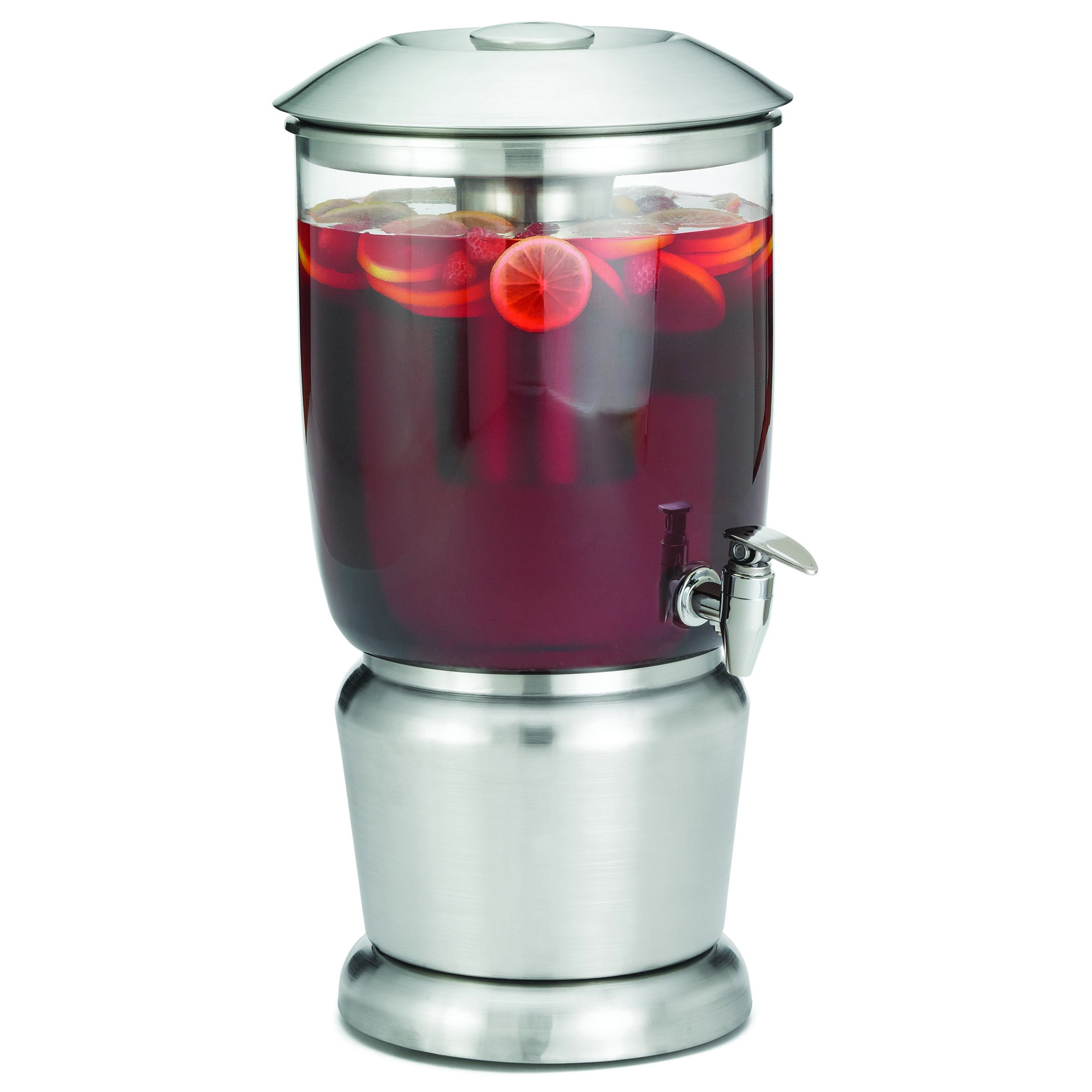 TableCraft 2.5 Gallon Drink Dispenser with Fruit Infuser & Stand | BPA Free | Tritan Stainless Steel | Cold Beverage Dispenser for Catering, Buffet or Home Use by Tablecraft