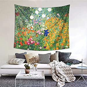 MOONSOON Flower Garden by Gustav Klimt Boutique Tapestry Wall Hanging Tapestry Vintage Tapestry Wall Tapestry Micro Fiber Peach Home Decor 59.1x51.2 in