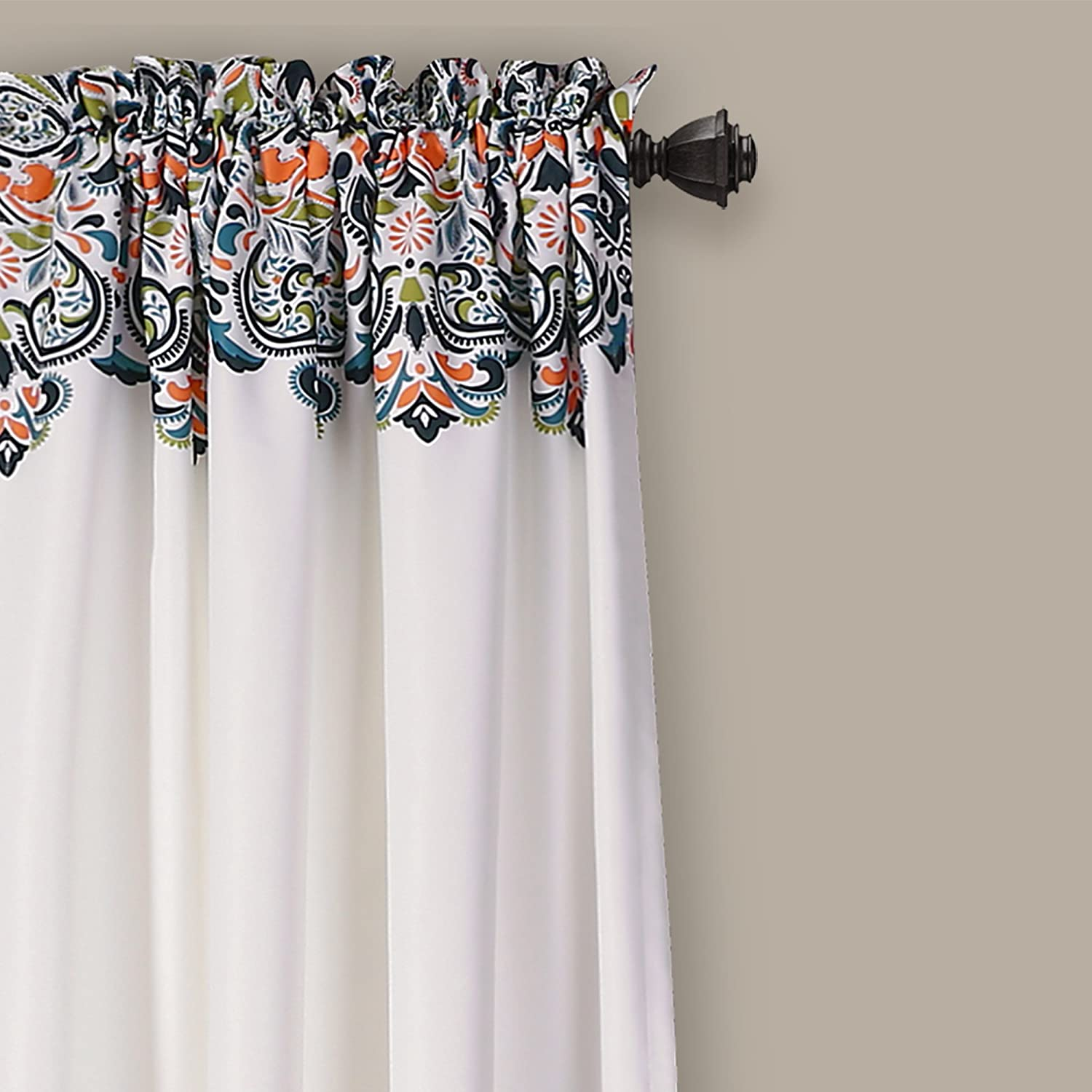 """Blue and Green Dining Pair Lush Decor Clara Curtains Paisley Damask Print Bohemian Style Room Darkening Window Panel Set for Living 84 x 52 84/"""" x 52/"""" Bedroom"""