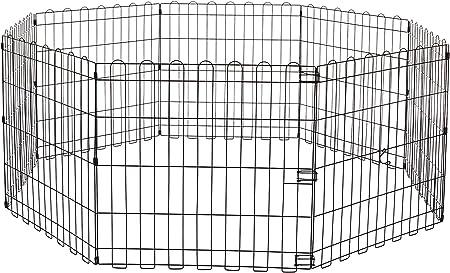 AmazonBasics - Parque de juegos y ejercicios para mascotas, paneles de valla metálica, plegable, 152,4 x 152,4 x 60,9 cm: Amazon.es: Productos para mascotas
