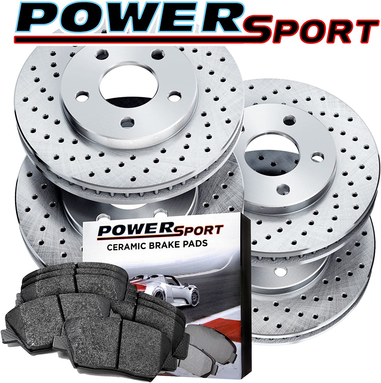 Fits BMW 323i 323Ci Front Rear Black Drill Slot Brake Rotors+Ceramic Brake Pads