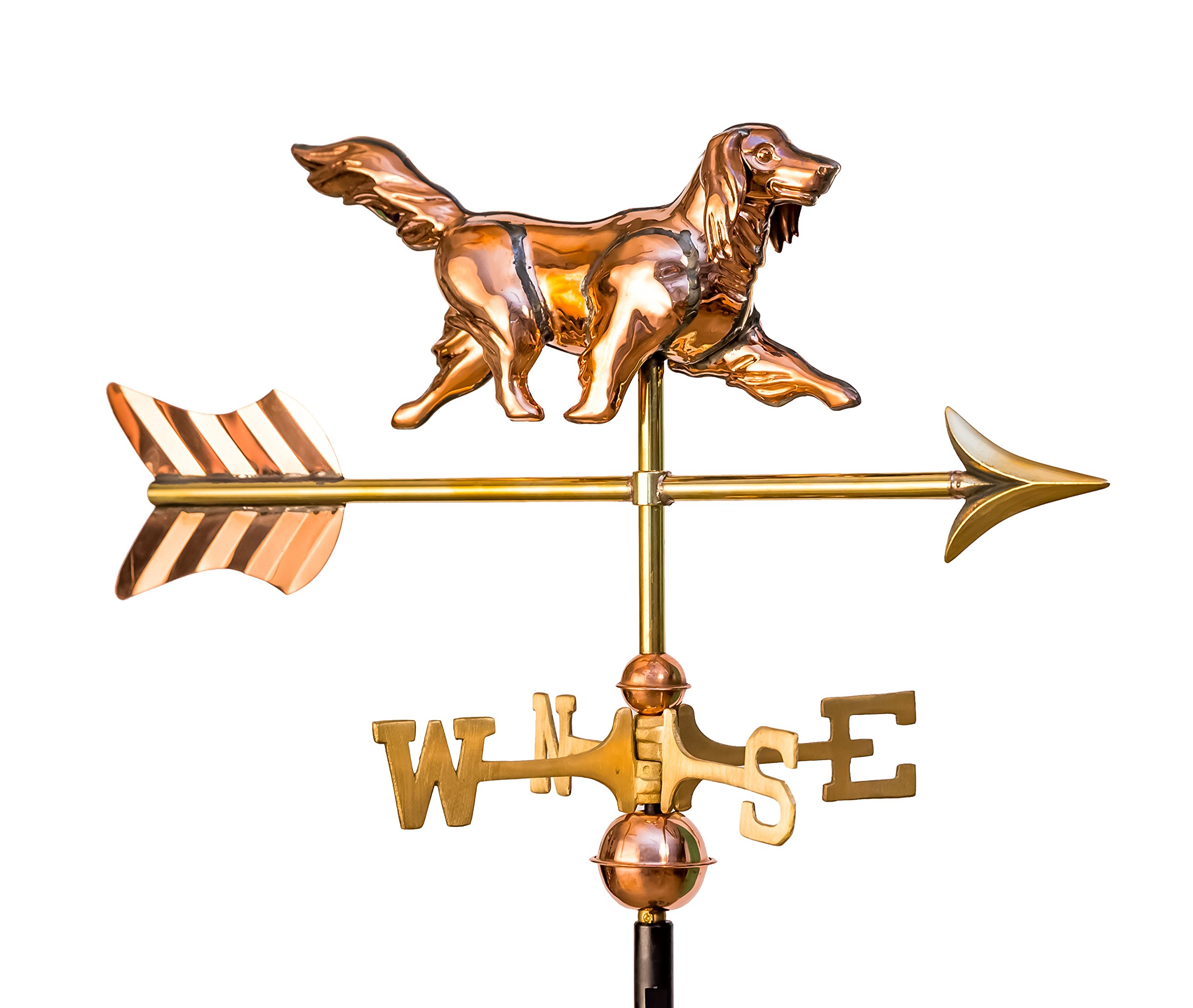 East Coast Weathervanes and Cupolas Garden Golden Retriever Weathervane Polished Copper (Copper, W/ Roof Mount)