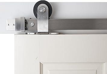 Accesorios De hierro BD1015 serie 6, para puerta corredera de granero moderna, madera y acero, doble correa, capa de polvo negro: Amazon.es: Bricolaje y herramientas