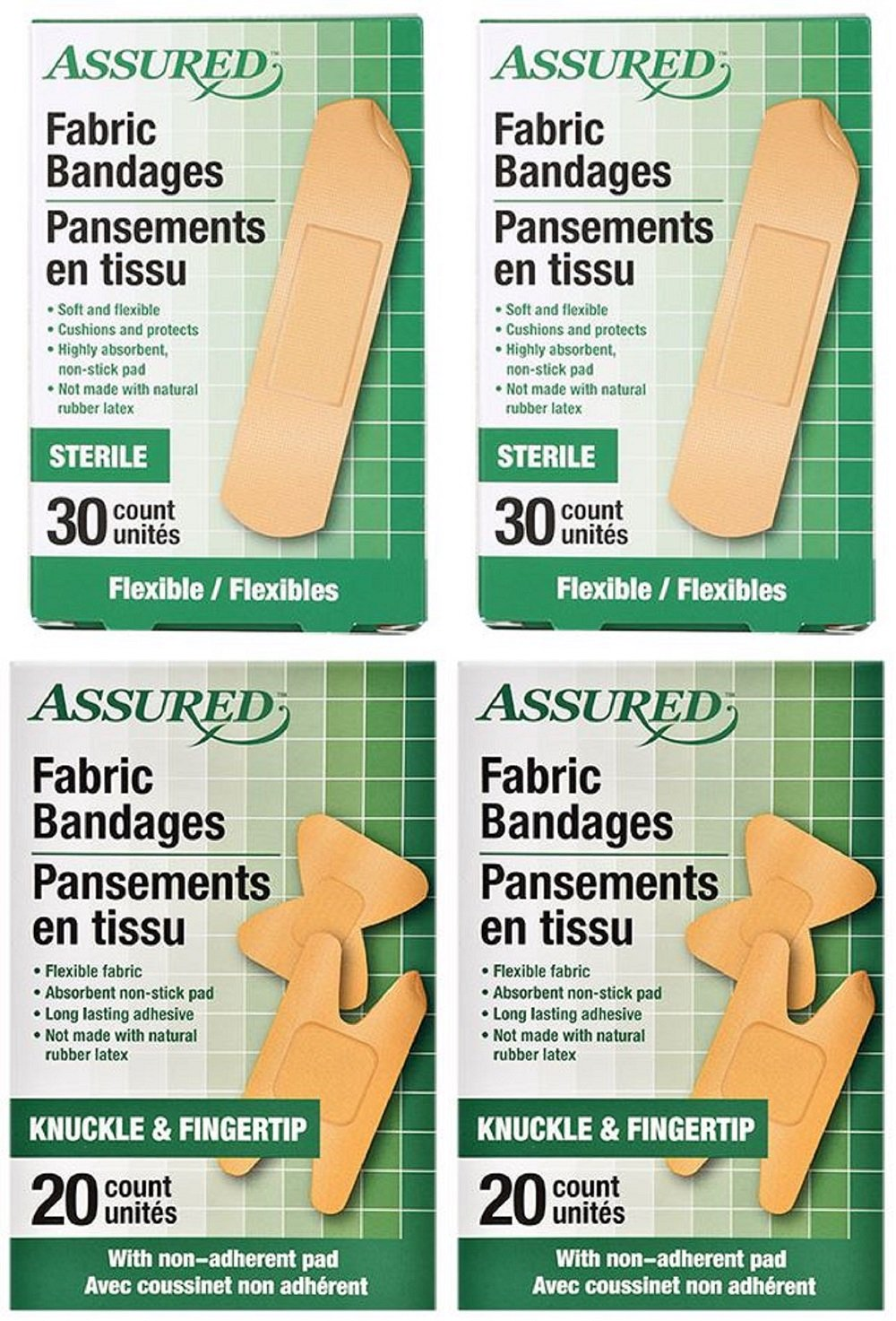 Assured Assorted Flexible Fabric Bandages, Knuckle, Fingertip, Standard, 4-Box, 100-ct
