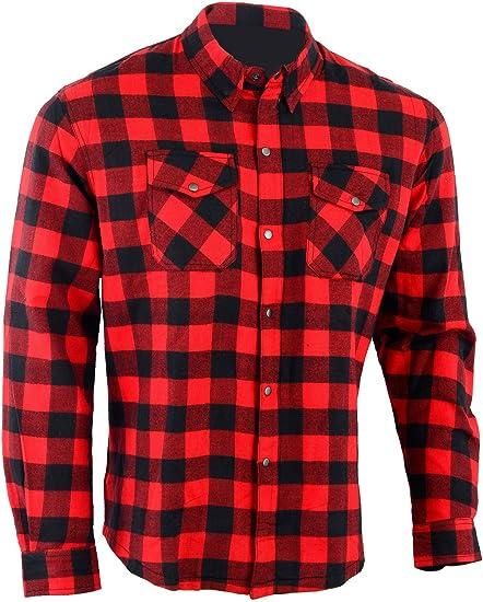 Bikers Gear Australia - Camisa protectora de franela para motocicleta con forro de aramida multicolor Rojo/Negro extra-large: Amazon.es: Coche y moto