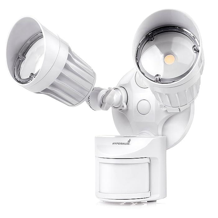 Hyperikon LED Outdoor Flood Light with Motion Sensor, LED Security Light Dusk to Dawn, 20W, 2 Head, White Motion Light, 5000K