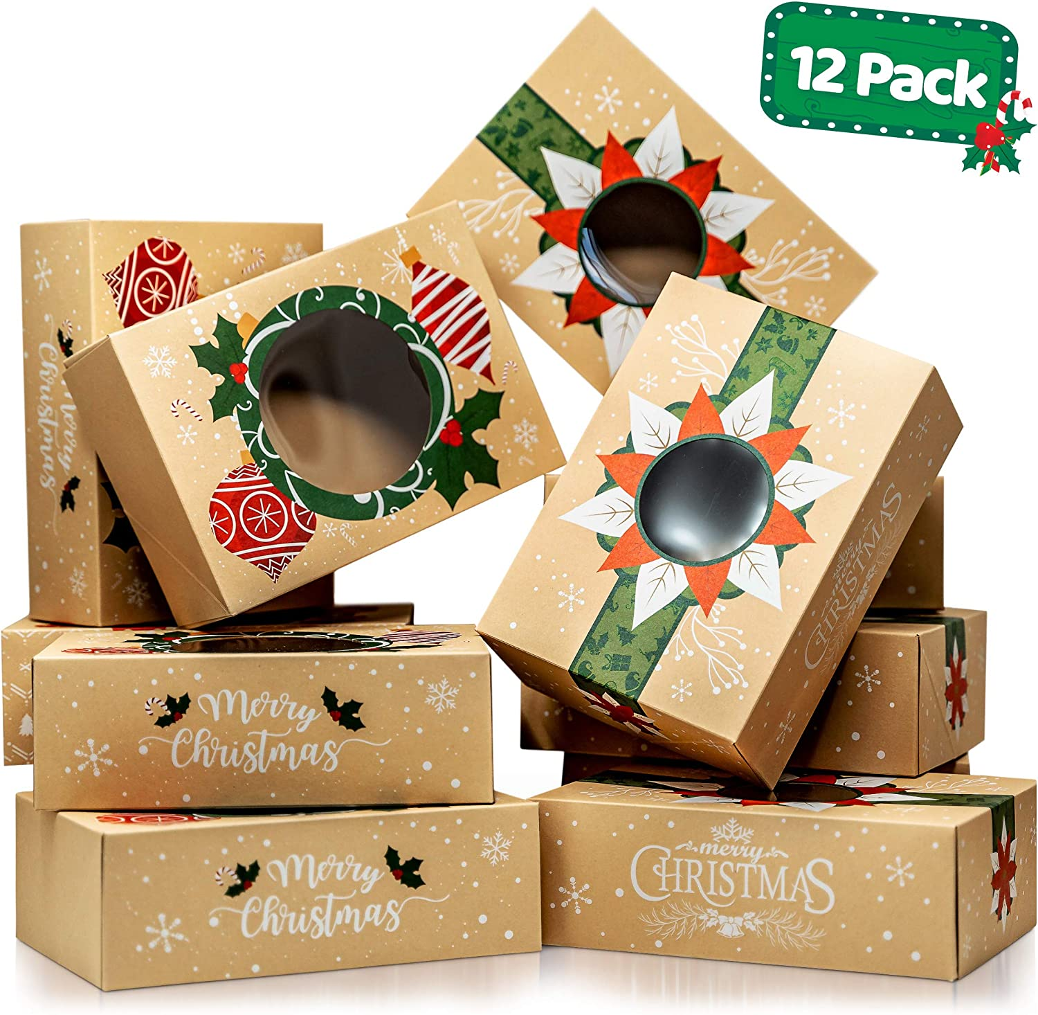 Christmas Cookie Boxes with Window – Bulk 12 Pack Kraft – Large Holiday Christmas Food, Bakery Treat Boxes, Candy and Cookie Boxes for Gift Giving – Kraft Packaging Containers & Tins with Lids