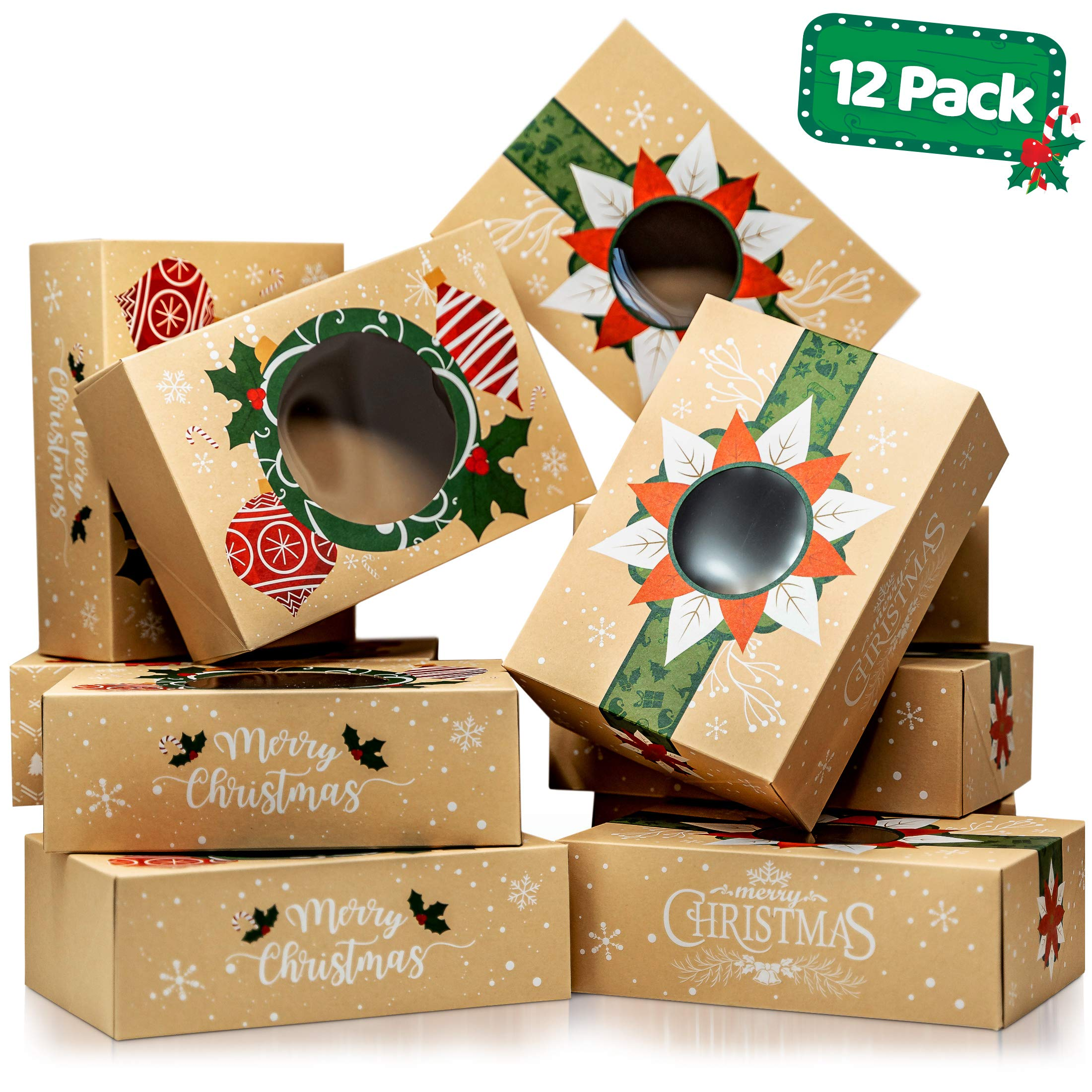 Christmas Cookie Boxes with Window - Bulk 12 Pack Kraft - Large Holiday Christmas Food, Bakery Treat Boxes, Candy and Cookie Boxes for Gift Giving - Kraft Packaging Containers & Tins with Lids by Joyousa