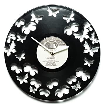 Mariposas pared relojes – relojes – Discos de Vinilo relojes de pared vinilo reloj arte –