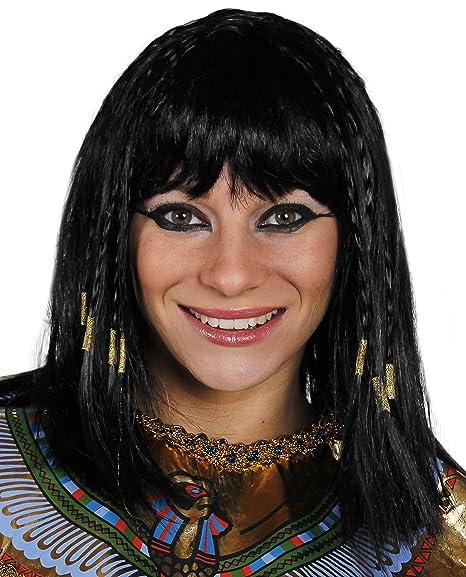 egipcio Peluca Mujer Cleopatra Peluca Accesorio Disfraz Mujer Reina De Nilo Negro Peluca con trenzas EN