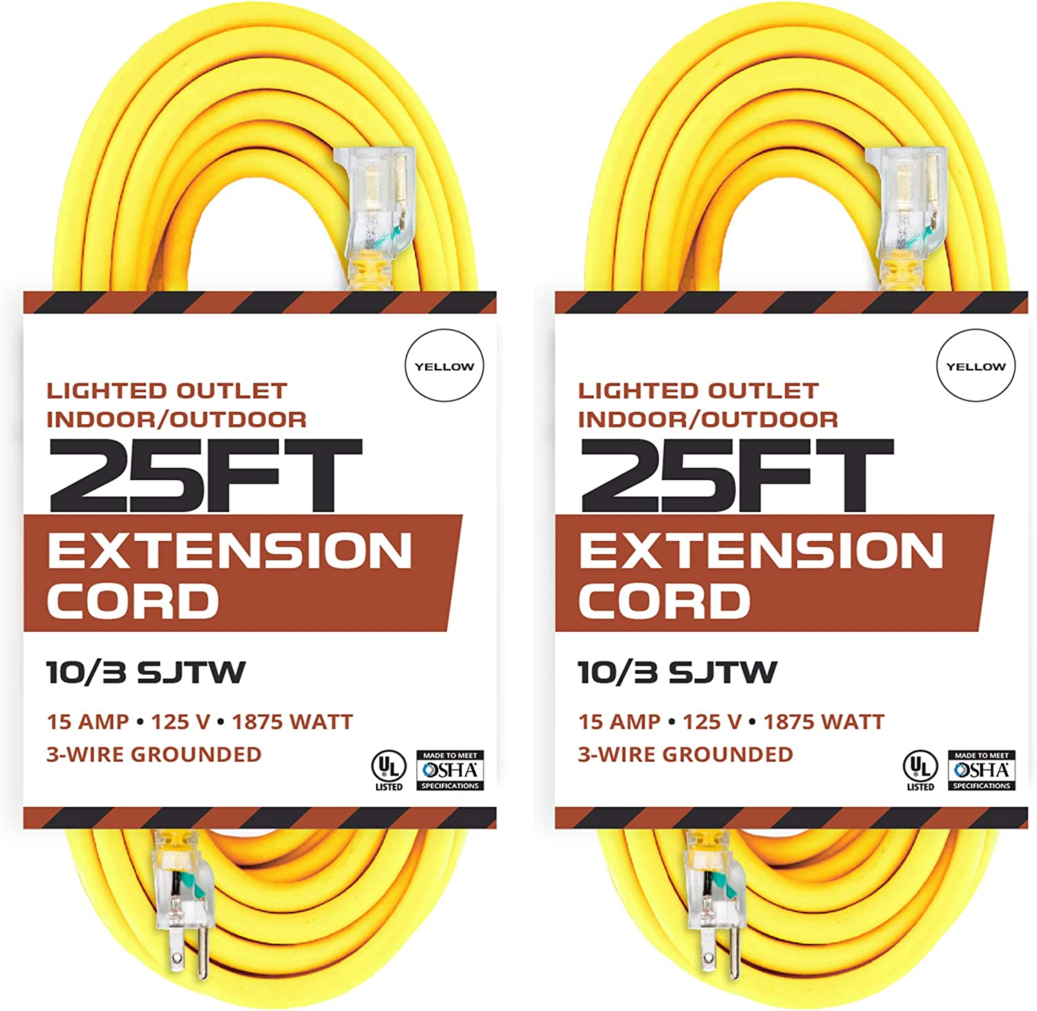 2 Pack of 25 Foot Lighted Outdoor Extension Cord - 10/3 SJTW Yellow 10 Gauge Extension Cable with 3 Prong Grounded Plug for Safety - Great for Garden and Major Appliances
