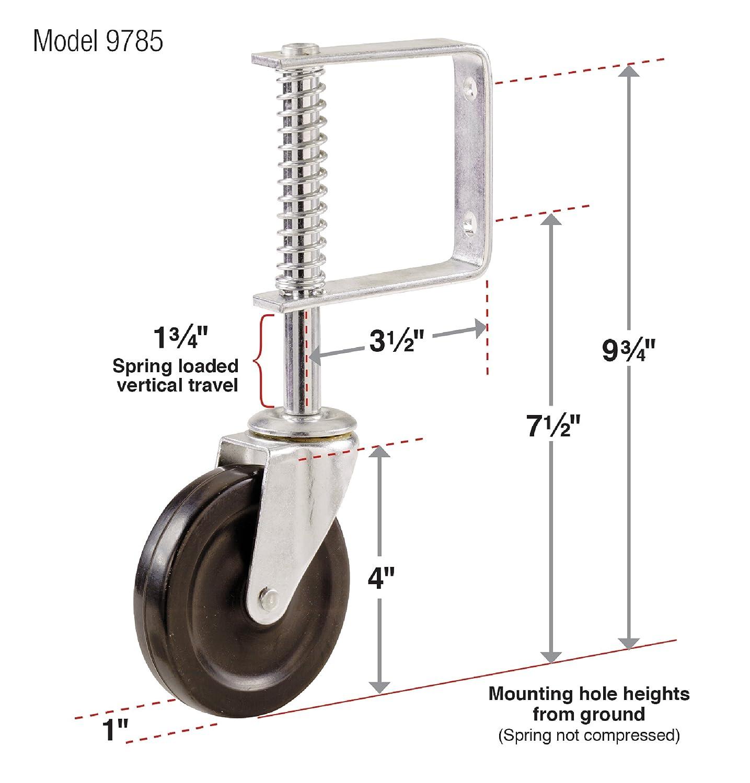 Shepherd Hardware 9785 4-Inch Spring Loaded Gate Caster 125-lb Load Capacity