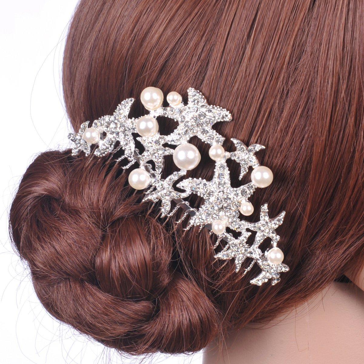 Remedios Starfish Pearl Wedding Hairpiece Hair Comb LWCAFS140075