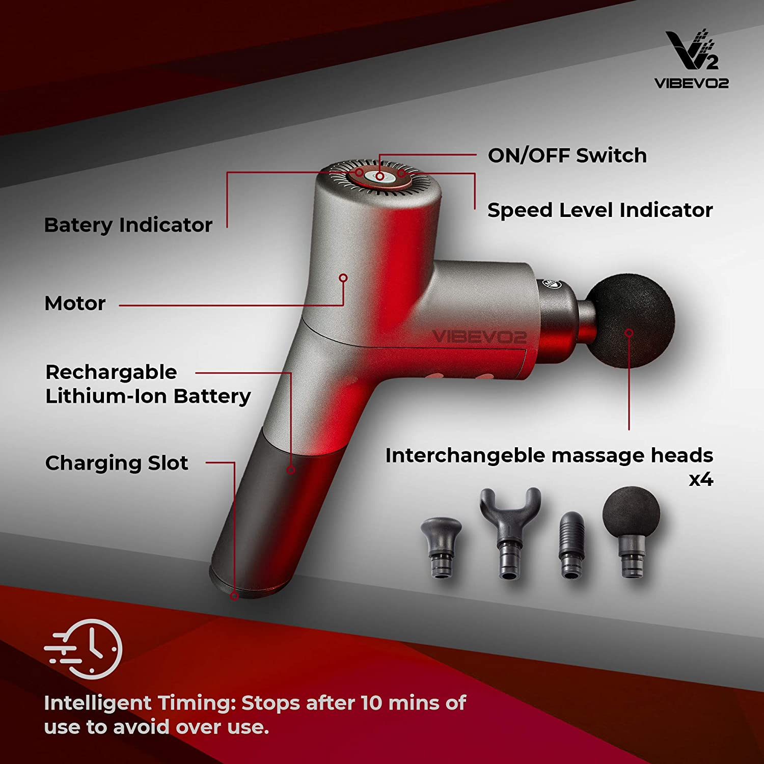 Vibevo2 Handheld Percussion Massage Gun- Quietest Cordless Vibration Device- Deep Tissue Massager- Great for Muscle Stimulation, Crossfit, Body Pain Relief, Muscle Soreness and Stiffness.