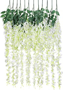 Luyue 3.18 Feet Artificial Silk Wisteria Vine Ratta Silk Hanging Flower Wedding Decor,6 Pieces,(Off-White)