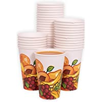 MGGI Trading Lot 100 Gobelets Carton écologique 7 oz (200 ML) - 100pcs Paper Cups for Hot/Cold Drinks Unique Design