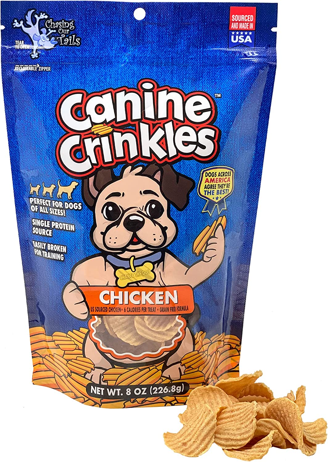 Canine Crinkles Chicken Chips for Dogs - Crispy Dehydrated Chicken Treats for Dogs Made from Simple Ingredients Your Dog Will Beg for - Sourced & Made in The USA - Grain & Rawhide Free - 8 oz