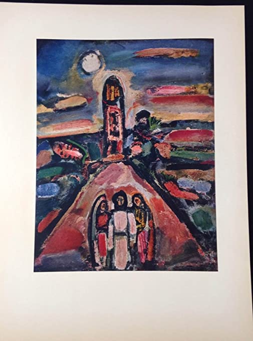 """1954 Vintage Full Color Art Plate /""""CHRIST AND TWO DISCIPLES/"""" ROUAULT Lithograph"""