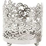 """Hosley's 4.5"""" High, Lace Jar Candle Sleeve, LED Tea Light Lantern. Silver Finish. Ideal Gift for Weddings, Spa, Aromatherapy, Home, Votive Candle Garden O7"""