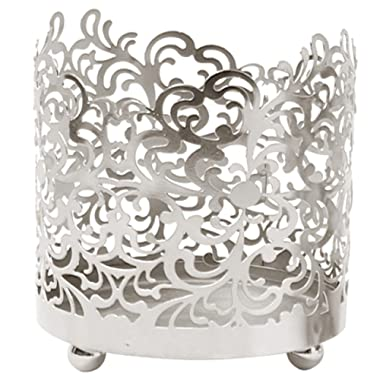 Hosley Metal Jar Candle Sleeves/Holders - Your Choice of Colors and Designs (Silver)