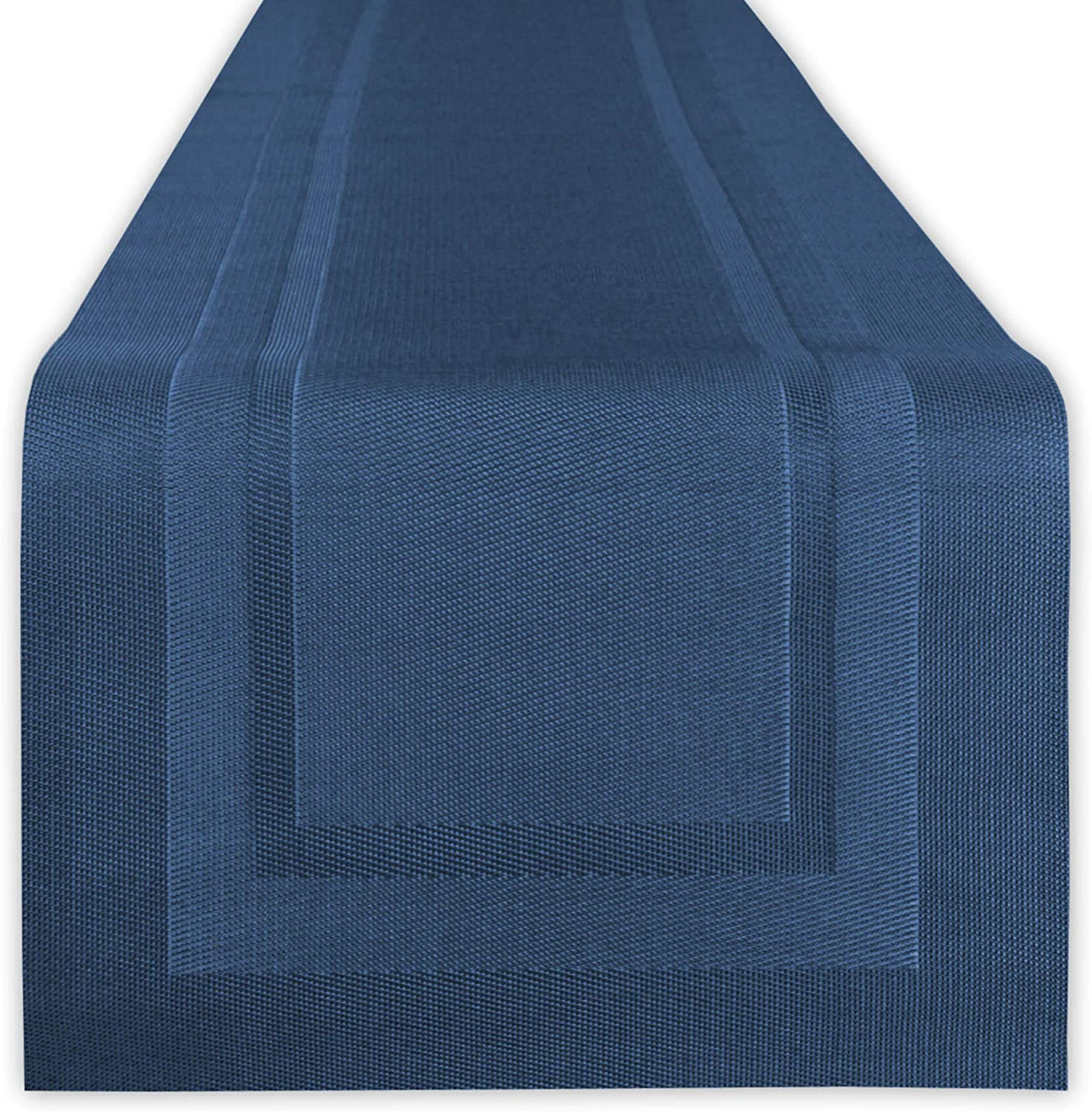 DII Vinyl Indoor/Outdoor Tabletop, Table Runner, Space Dyed Nautical Blue