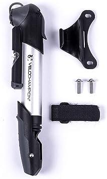 VeloChampion Bomba de Bicicleta Alloy 9 con manómetro y Parches de reparación de pinchazos. Presta/Schrader 8.3 Bar (120 PSI): portátil, Compacto, Duradero, rápido y fácil de Usar