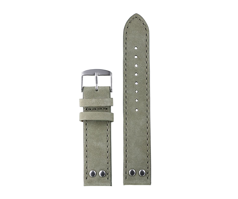 20 mm 22 mm Army Green Distressed Leather Upperリベットで頑丈なレザー時計ストラップメンズヌバックレザーReal牛革 20mm グリーン 20mm   B0714DRW99