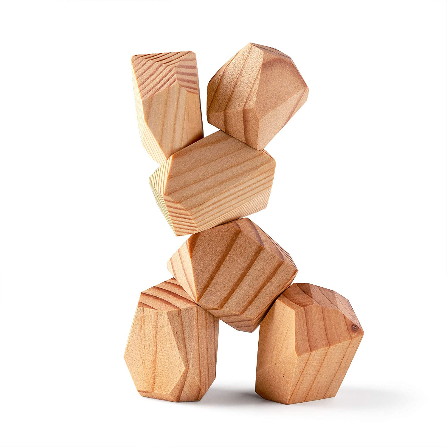 PERCHED Natural Stacking Rocks, Wooden Blocks, Montessori Puzzle Game, Open Ended Toys, Wood Balancing Stones Set (6 Pc)