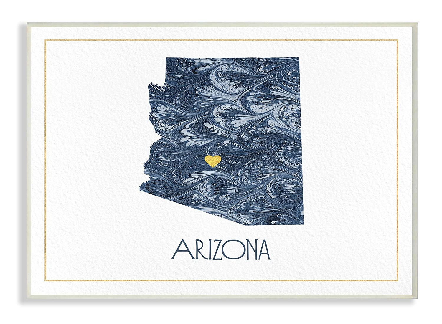 10 x 15 The Stupell Home Decor Arizona Minimal Blue Marbled Paper Silhouette Wall Plaque Art Multi-Color