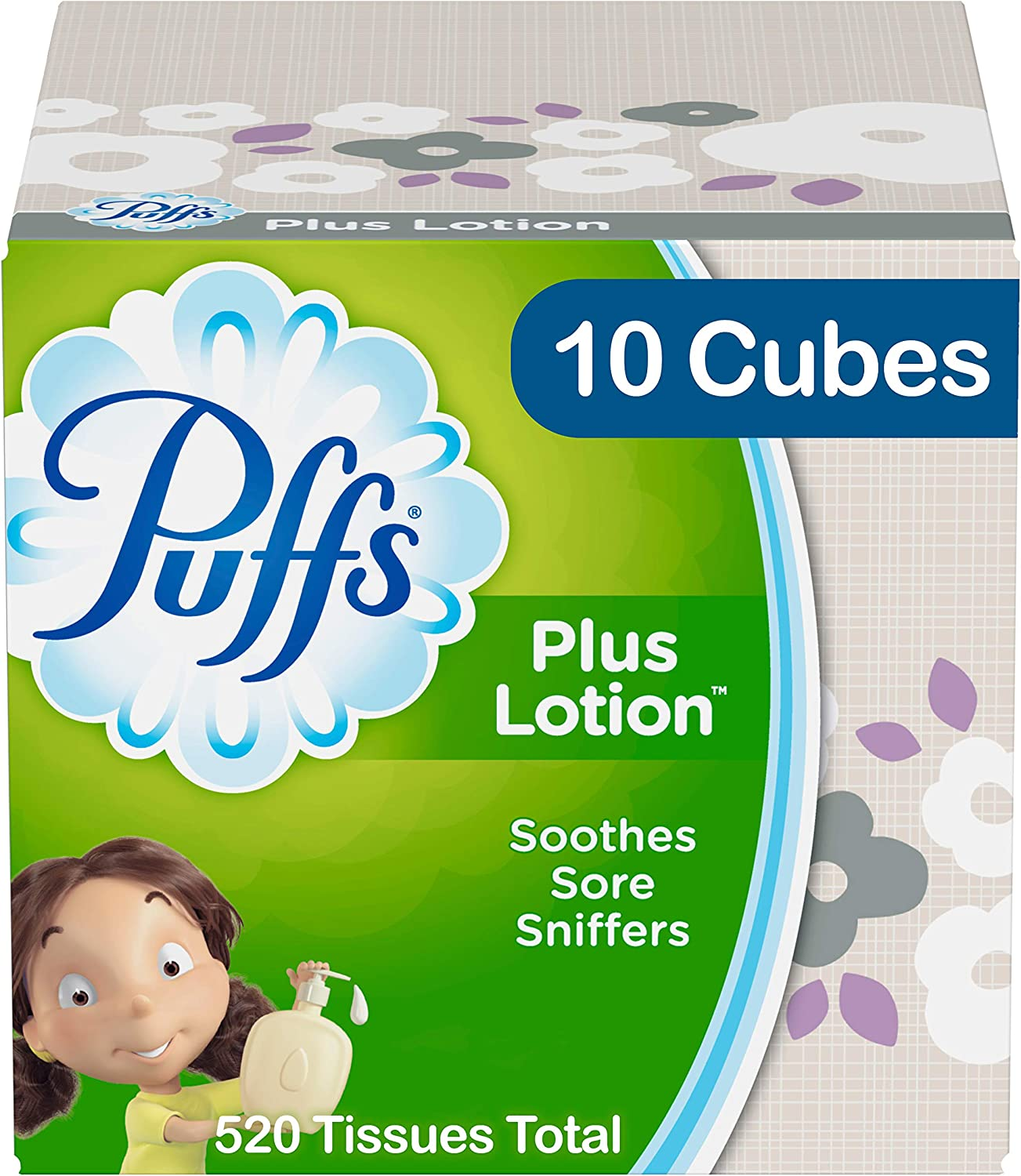 Puffs Plus Lotion Facial Tissues, 10 Cube Boxes, 52 tissues per Cube