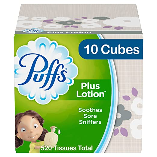 Puffs Plus Lotion Facial Tissues, 10 Cubes, 52 Tissues per Cube