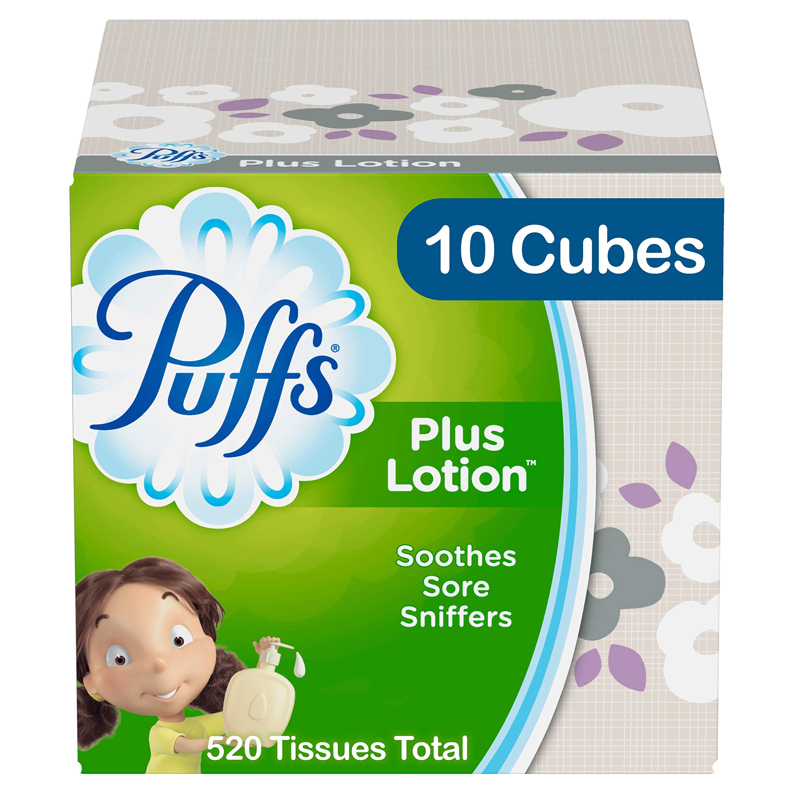 Puffs Plus Lotion Facial Tissues, 10 Cubes, 52 Tissues per Cube by Puffs (Image #1)