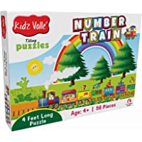 Kidz Valle Number Train 4 Feet Long 56 Piece Tiling Puzzles (Jigsaw Puzzles, Puzzles for Kids, Floor Puzzles), Puzzles for Kids Age 4 Years and Above. Size: 28.5 cm x 28.5 cm