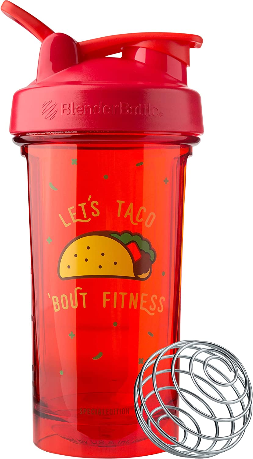 BlenderBottle C04201 Pro Series Foodie Shaker Bottle, 24oz, Let's Taco 'Bout Fitness