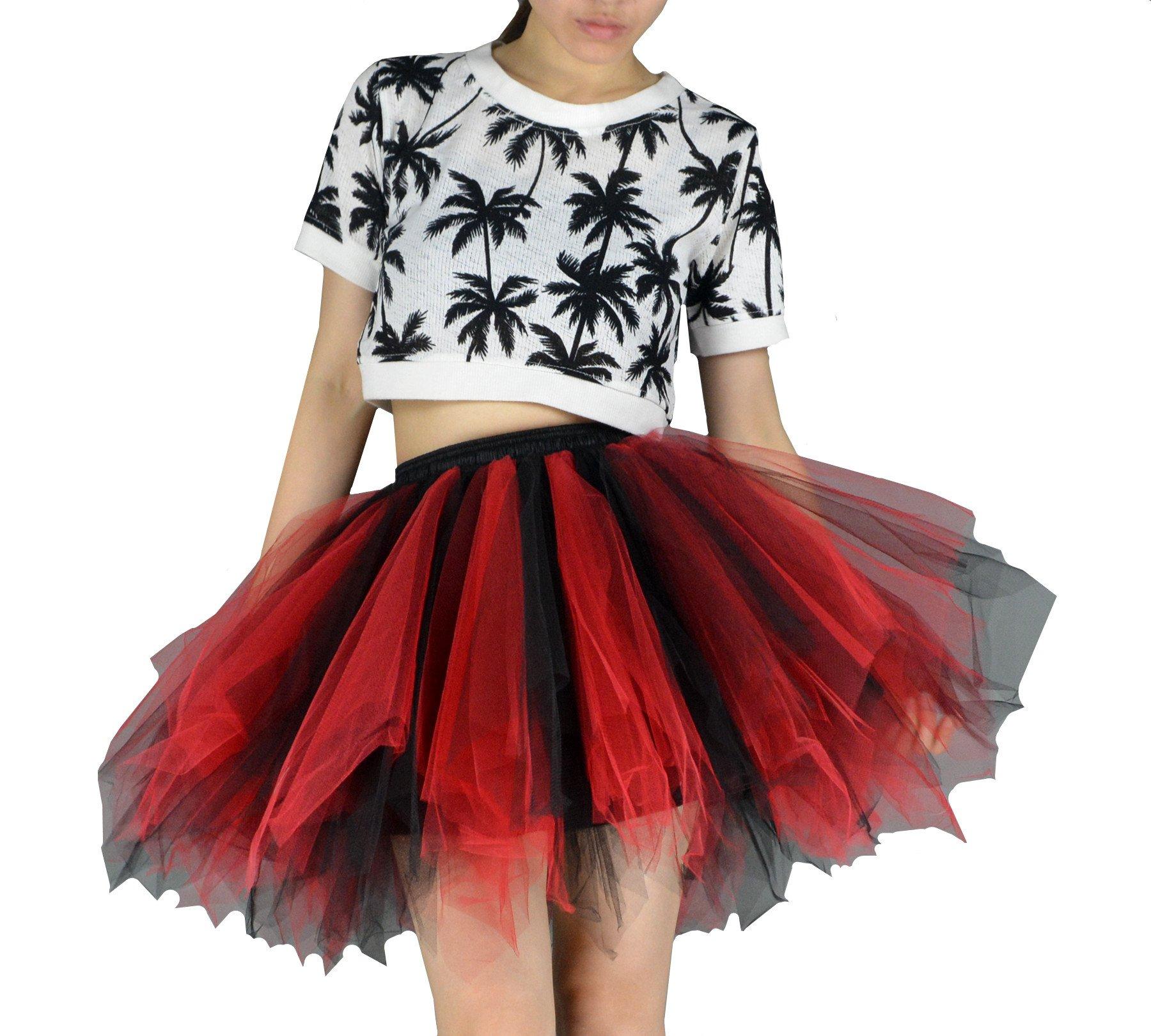 YSJERA Women's Tutu Tulle Mini A-Line Petticoat Prom Party Cosplay Skirt Fun Skirts (L, Black+Red)