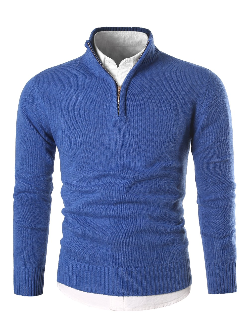 MIEDEON Mens Slim Fit Zip up Mock Neck Polo Sweater Casual Long Sleeve Sweater and Pullover Sweaters with Ribbing Edge (Blue, L)