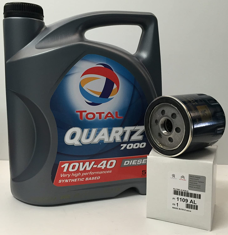 Total Pack Quartz 7000 Diesel 10W40 5 litros + Filtro Original Peugeot/Citroen 1109AL: Amazon.es: Coche y moto