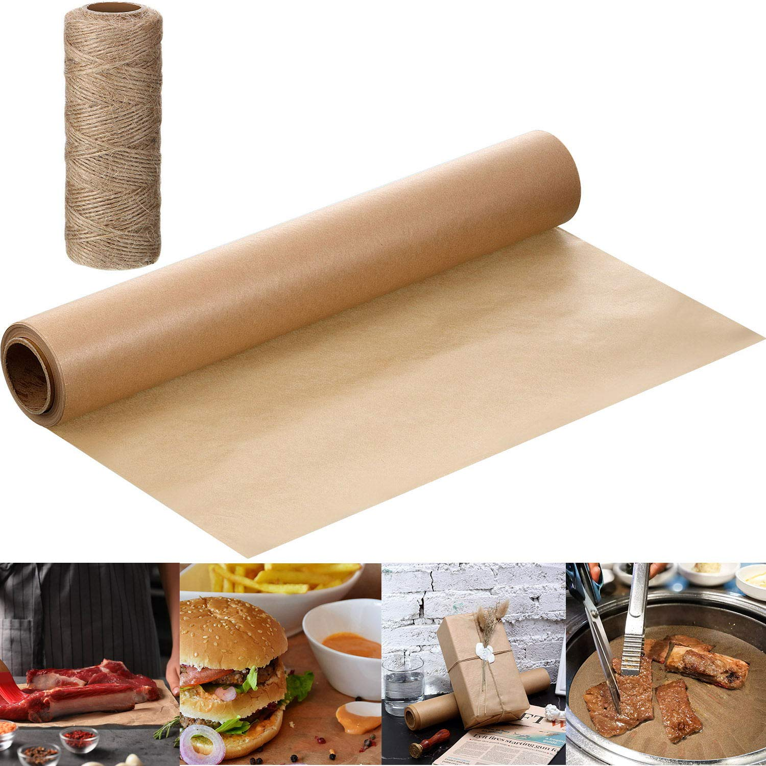 12 Inch x 65 Feet Kraft Butcher Paper Roll, Wrapping Paper for Wrapping, Packaging Gift, Writing, BBQ Briskets, Wrapping Meats, with 50m Cord (Brown)