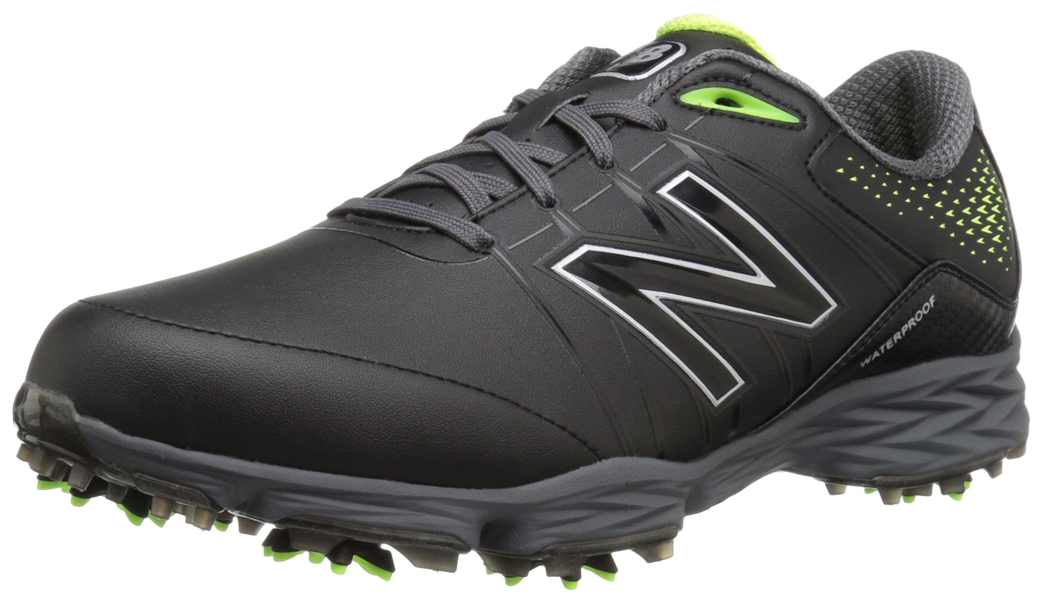 New Balance Men's NBG2004 Waterproof Spiked Comfort Golf Shoe, Black/Green, 8.5 XW US by New Balance