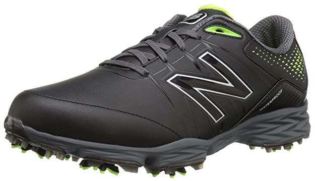 New Balance Men's NBG2004 Waterproof Spiked Comfort Golf Shoe, Black/Green, 8 M US