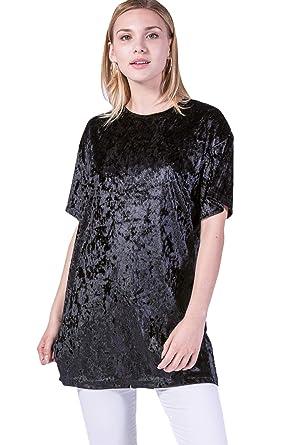 668382a7355c5 JUAE Women Crushed Velvet T-Shirt Dress at Amazon Women's Clothing ...