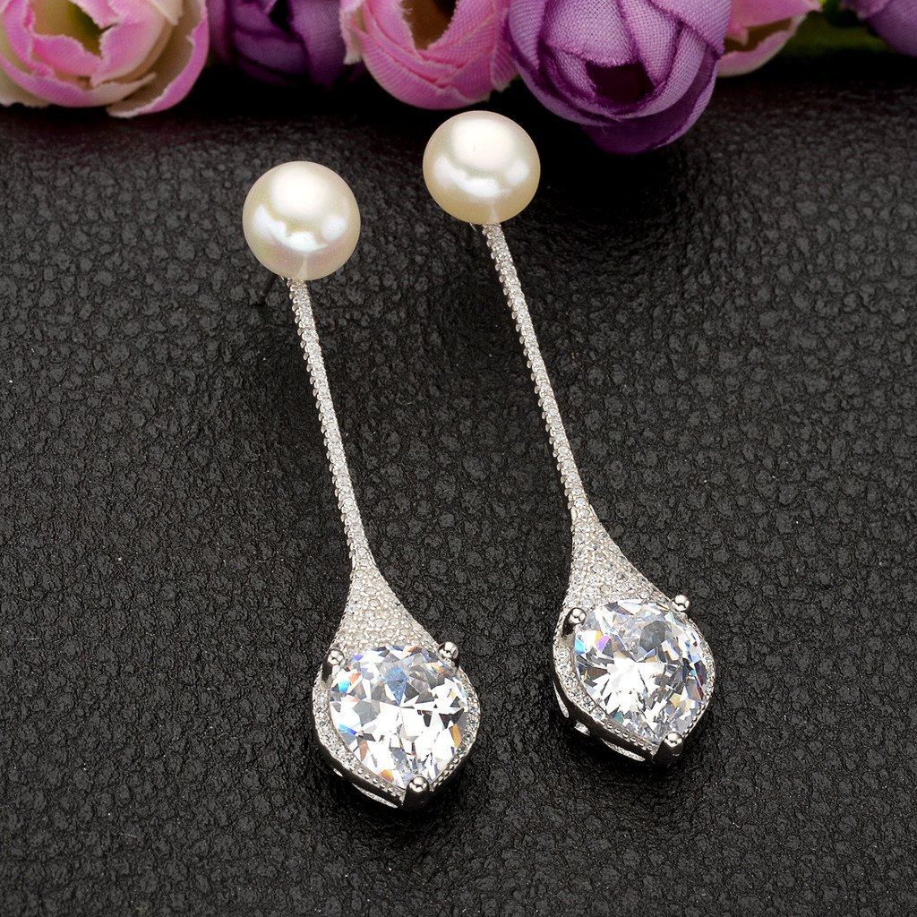 EVER FAITH 925 Sterling Silver CZ 9MM AAA Freshwater Cultured Pearl Elegant Drop Ear Jacket Earrings by EVER FAITH (Image #5)