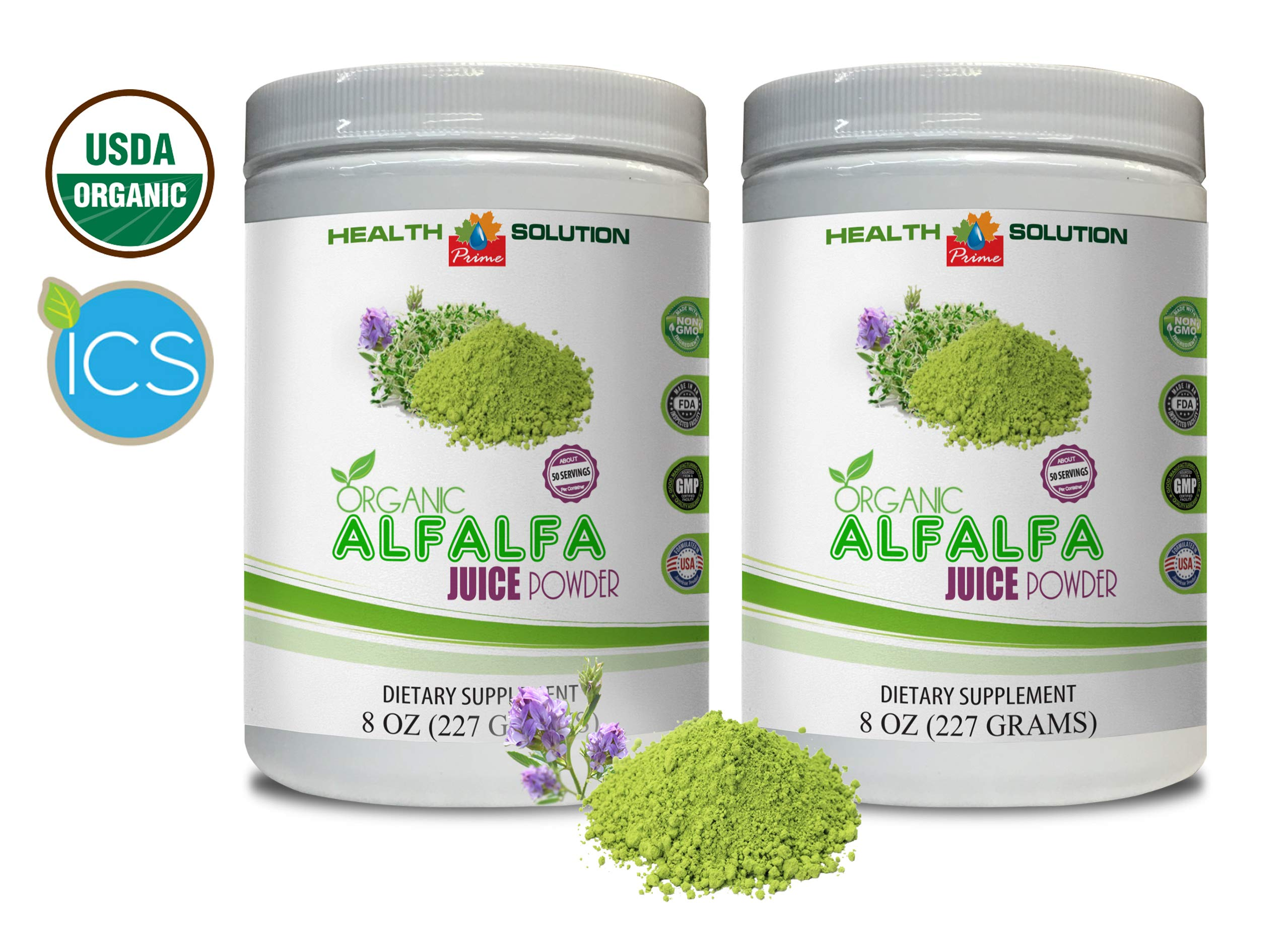 antioxidant Supplement - Organic Alfalfa Juice Powder - Alfalfa Powder Bulk - 2 Cans 16 OZ (100 Servings)