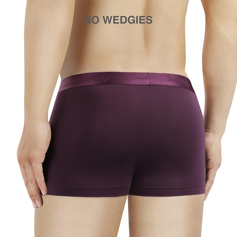 David Archy Mens 4 Pack Underwear Micro Modal Ultra Soft Trunks