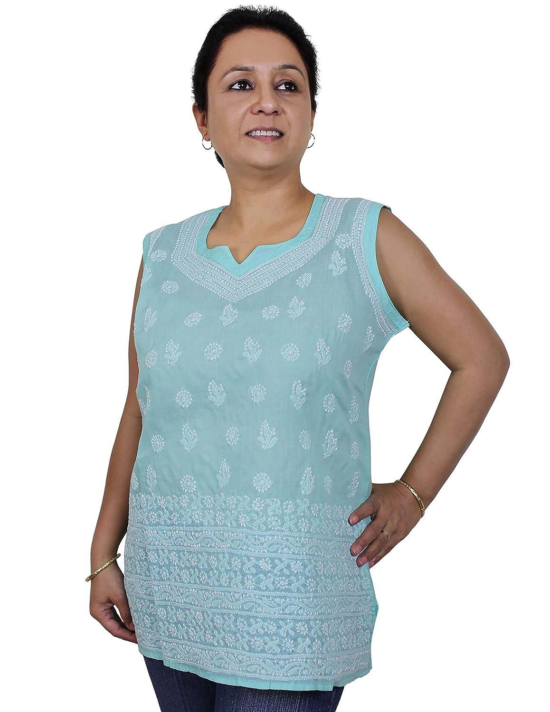 Frauen Bluse Baumwolle Langarm Top Hemd Chikan Stickerei (Größe - Brust: 103 cm)
